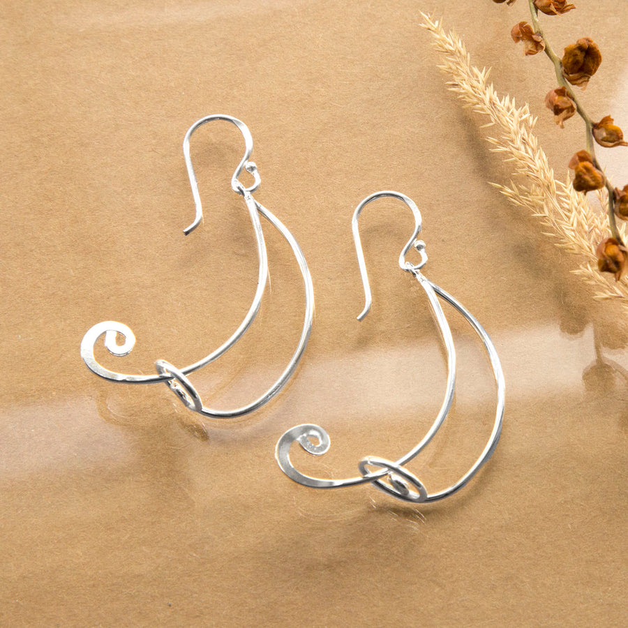 Sterling Silver Free Form Curl Drop Earrings
