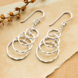 Sterling Silver Four Twisted Hoop Drop Earrings