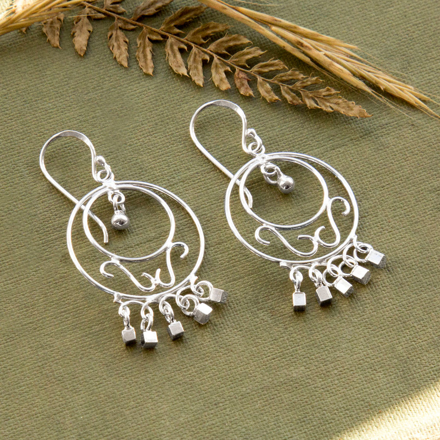 Sterling Silver Abstract Rings And Cubes Drop Earrings