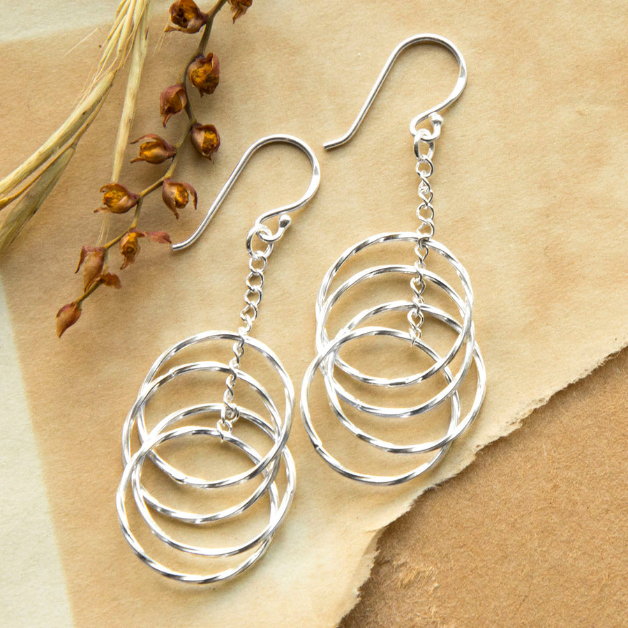 Sterling Silver Chain And Twisted Hoops Earrings