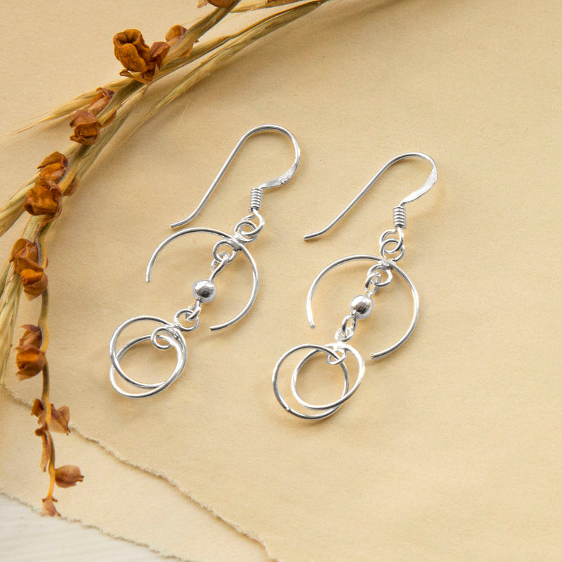 Sterling Silver Crescent Drop Earrings