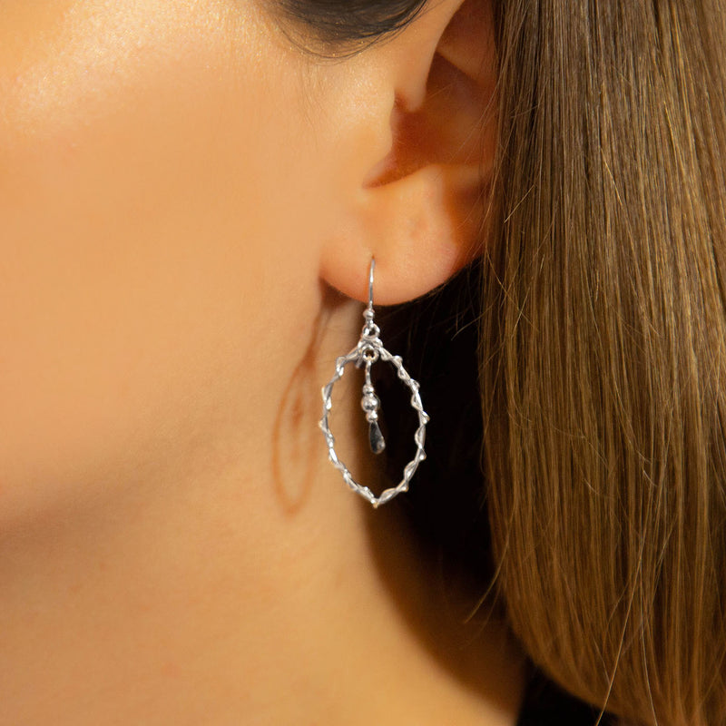 Sterling Silver Delicate Wire Oval Drop Earrings