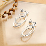 Sterling Silver Double Oval Stud Earrings