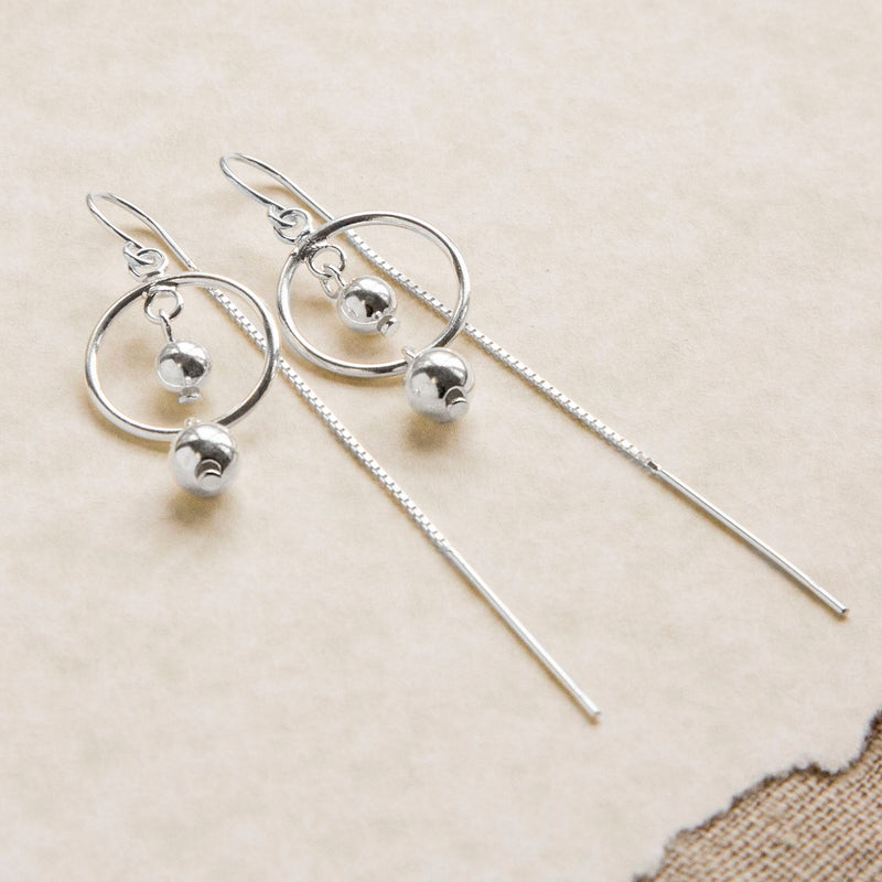 Sterling Silver Ring And Twin Ball Threader Earrings