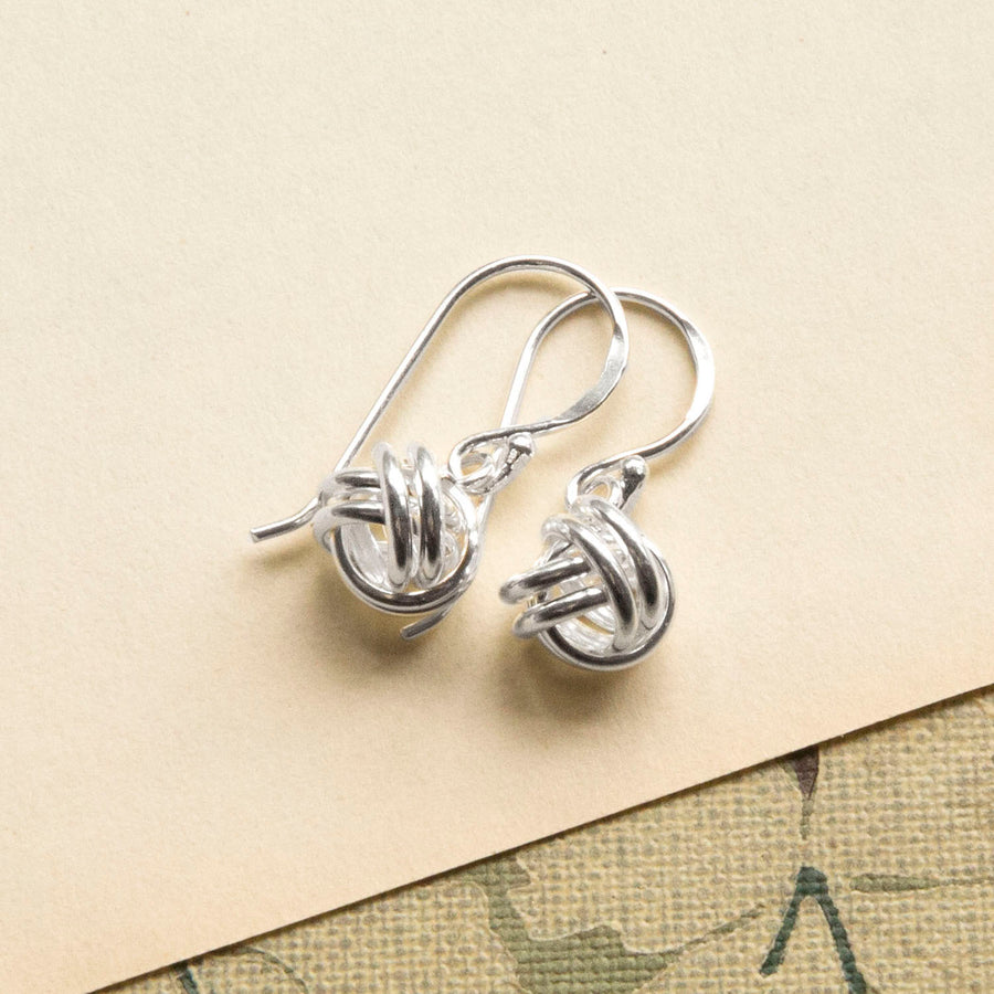 Sterling Silver Simple Knot Drop Earrings