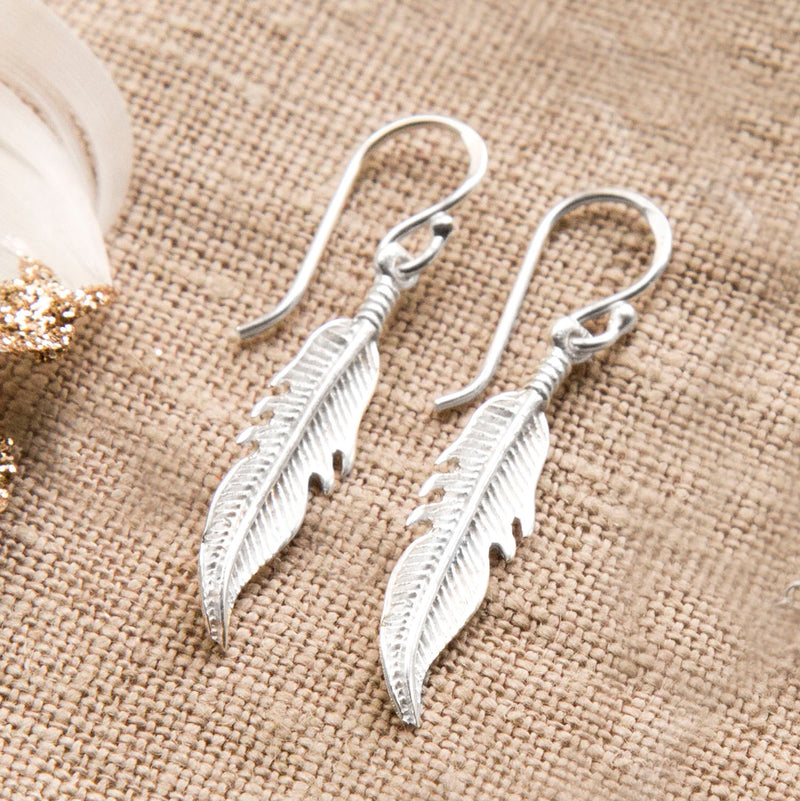 Sterling Silver Dangly Lucky Feather Earrings