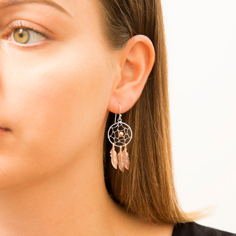 Sterling Silver and Rose Gold Dream Catcher Earrings Large
