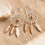 Sterling Silver and Rose Gold Dangly Dream Catcher Earrings