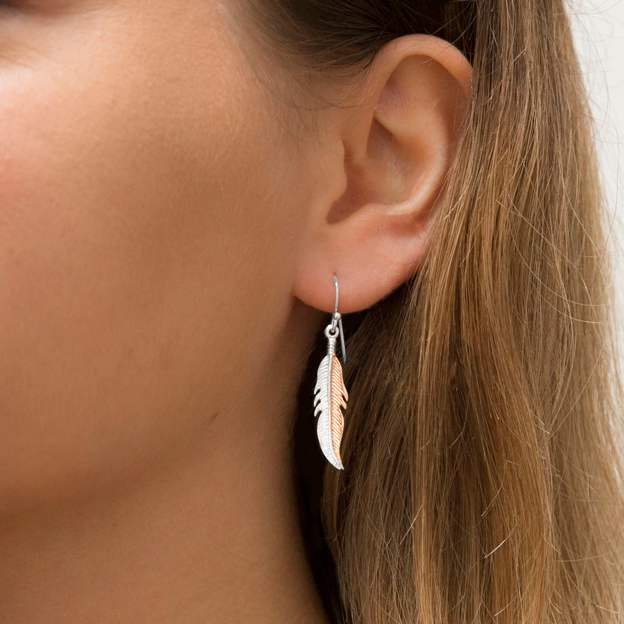 Sterling Silver and Rose Gold Feather Earrings