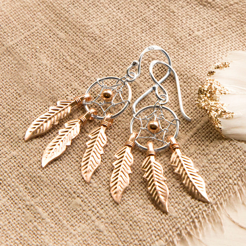 Sterling Silver and Rose Gold Dream Catcher Earrings