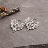 Sterling Silver Lace Heart Earrings