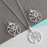 Sterling Silver Swirling Waves Necklace