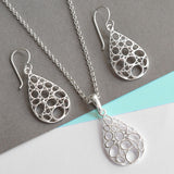 Sterling Silver Geometric Teardrop Necklace