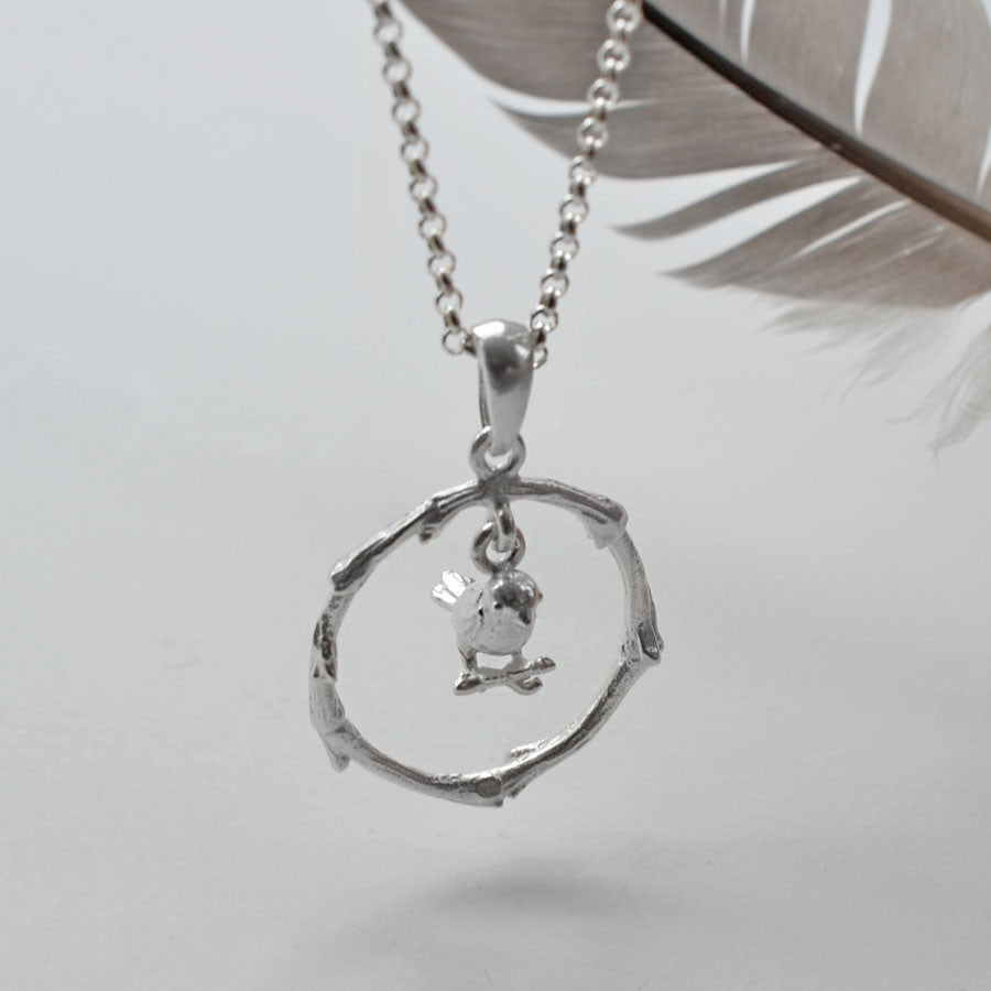 Sterling Silver Little Bird Hoop Necklace