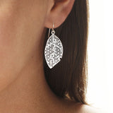 Sterling Silver Geometric Leaves Earrings