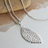 Sterling Silver Geometric Leaves Necklace