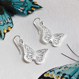 Sterling Silver Small Monarch Butterfly Earrings