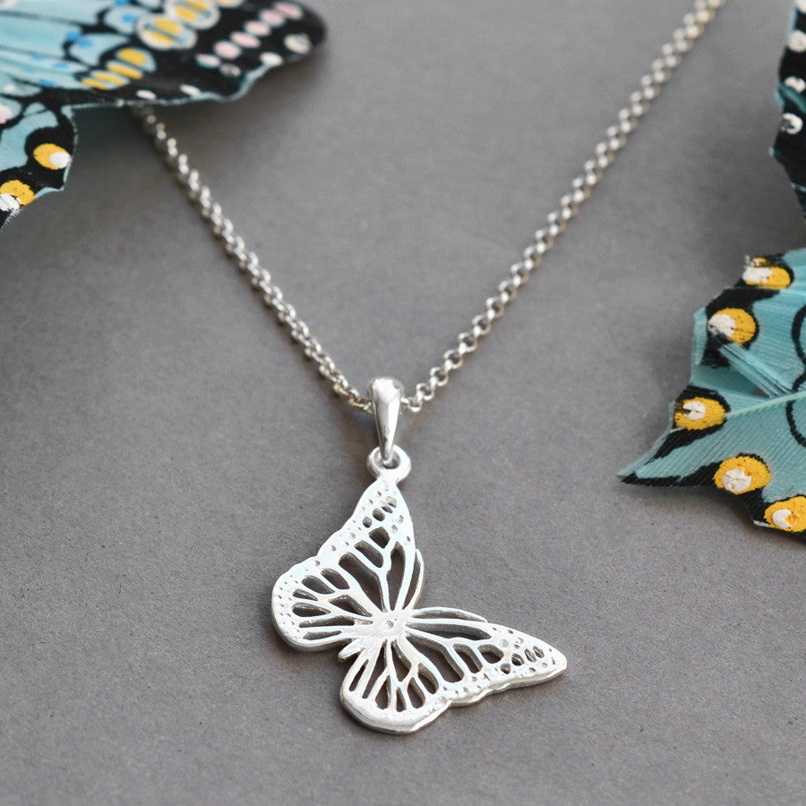 Sterling Silver Small Monarch Butterfly Necklace