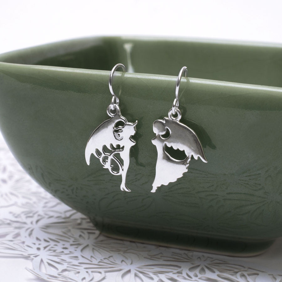 Sterling Silver Devil and Angel Earrings