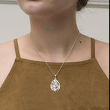 Sterling Silver Funky Flowers Teardrop Necklace