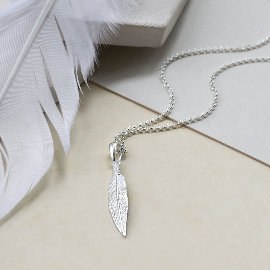 Sterling Silver Cheyenne Feather Necklace
