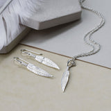 Sterling Silver Cheyenne Feather Earrings