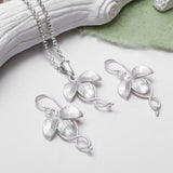 Sterling Silver Three Leaf Necklace