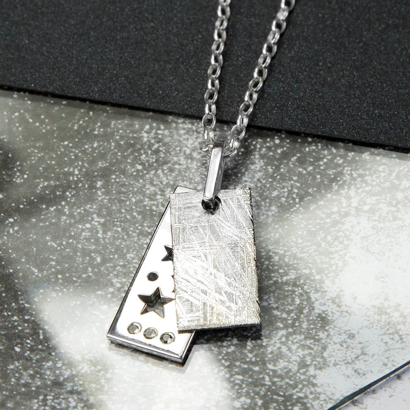 Sterling Silver Meteorite and Stars Necklace