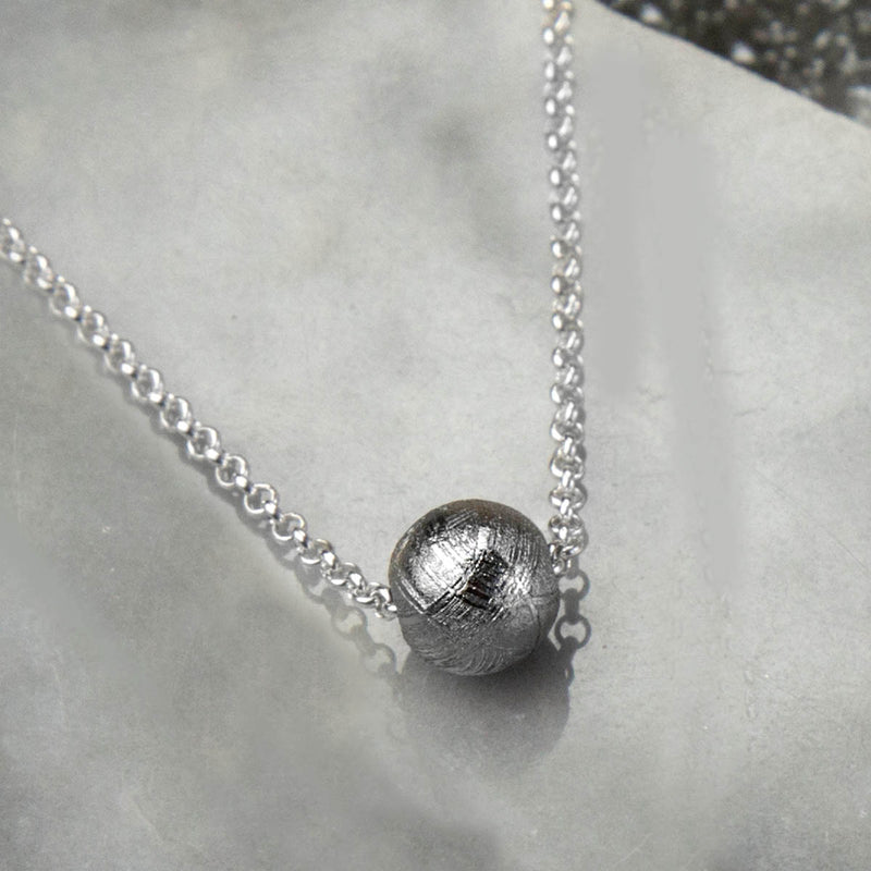 Sterling Silver Meteorite Sphere Necklace