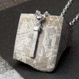 Sterling Silver Tipped Meteorite Rod Necklace