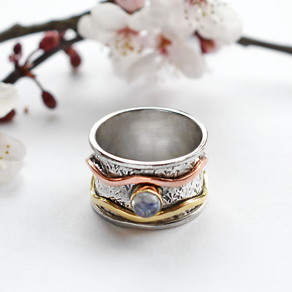 Mixed Metal Stone Ring