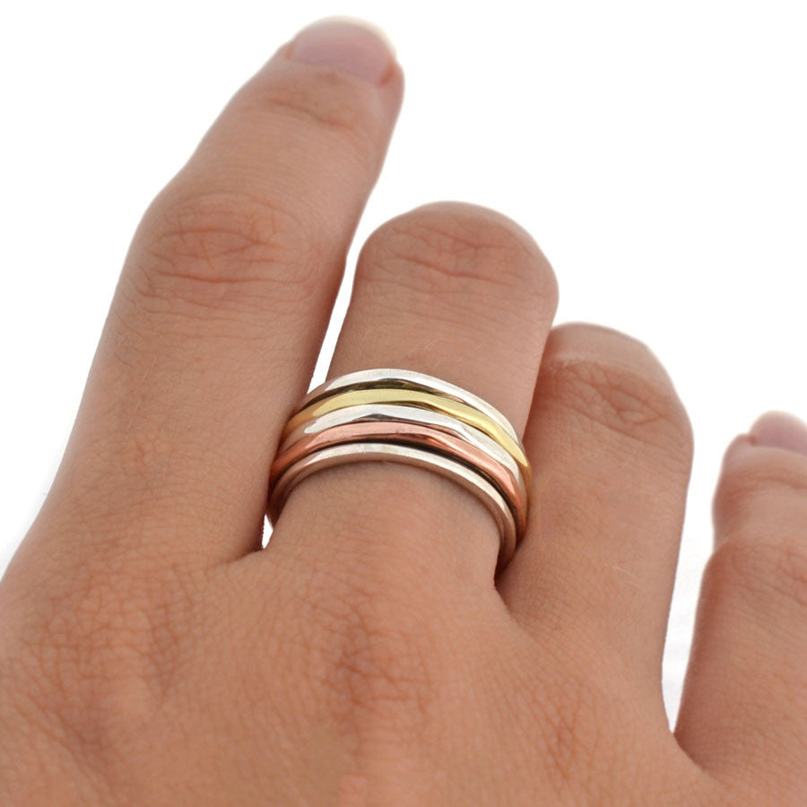 Mixed Metal Triple Band Ring