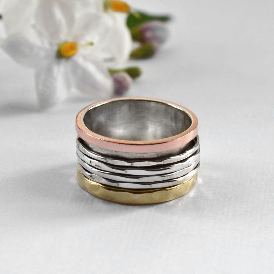 Mixed Metal Ribbon Bands Ring