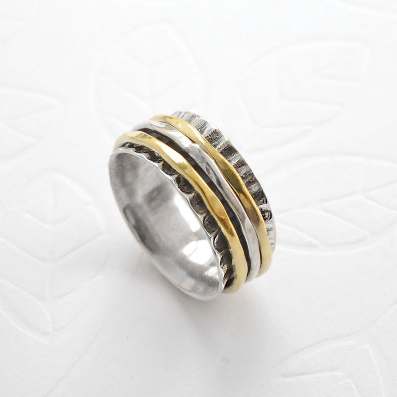 Mixed Metal Spinning Shell Ring