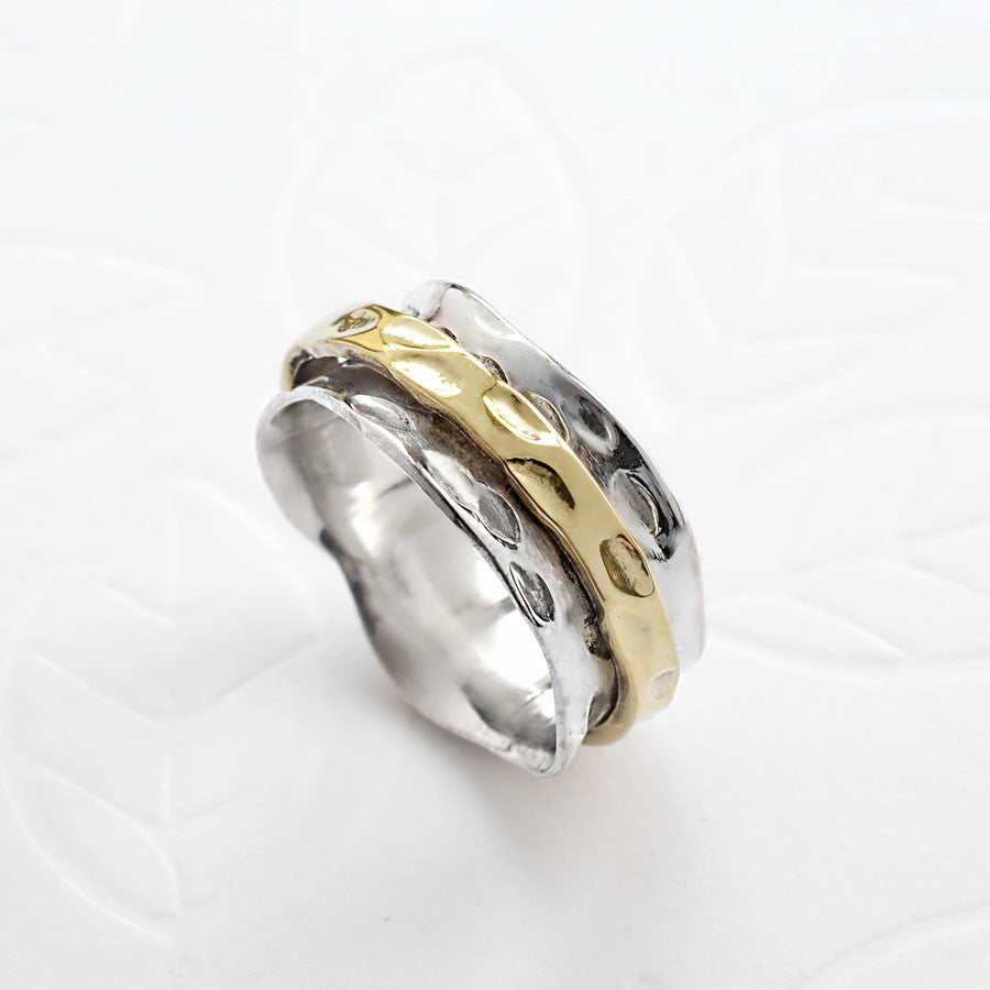 Sterling Silver Mixed Metal Spinning Leaf Ring