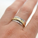 Mixed Metal Spinning Leaf Ring