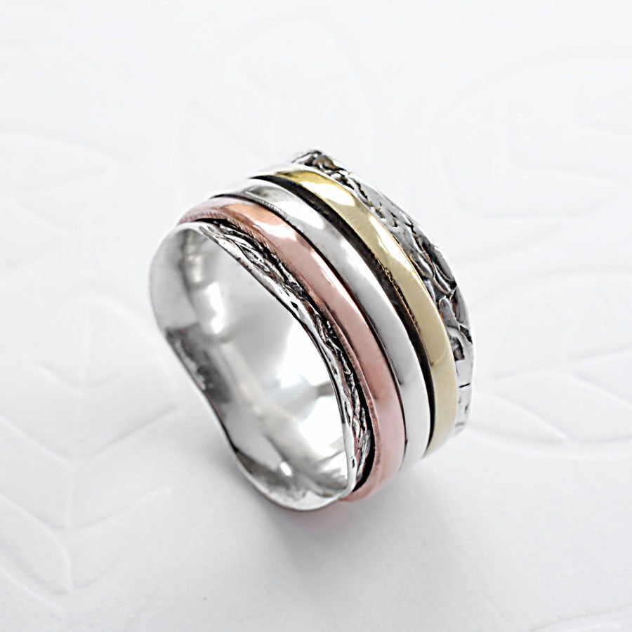 Mixed Metal Spinning Waves Ring