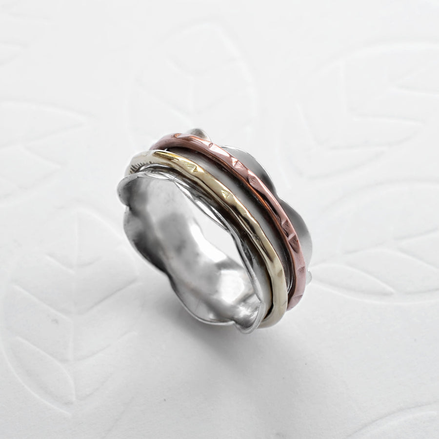 Mixed Metal Scalloped Spinning Ring