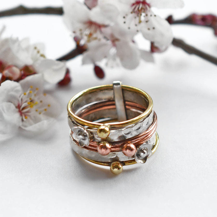 Sterling Silver Mixed Metal Floral Stacking Ring