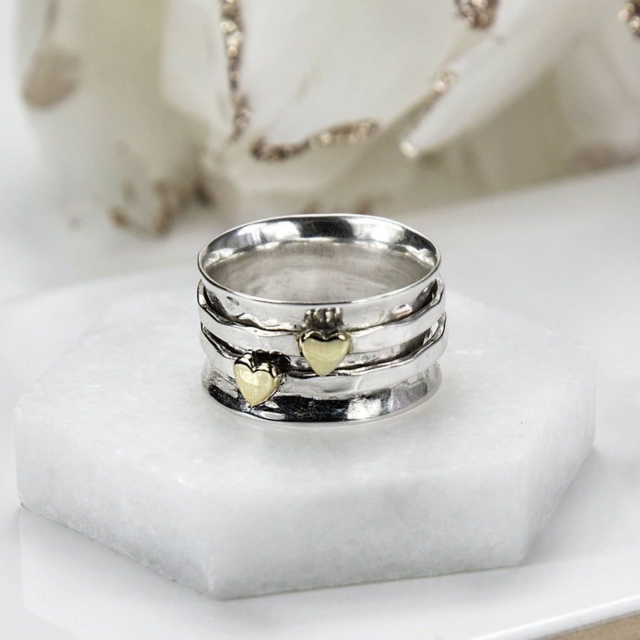 Mixed Metal Spinning Hearts Ring