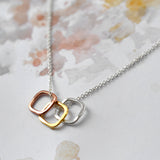 Sterling Silver Eternity Squares Necklace