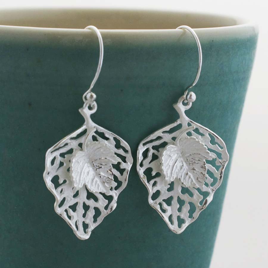 Sterling Silver Leaf Earrings by Martha Jackson