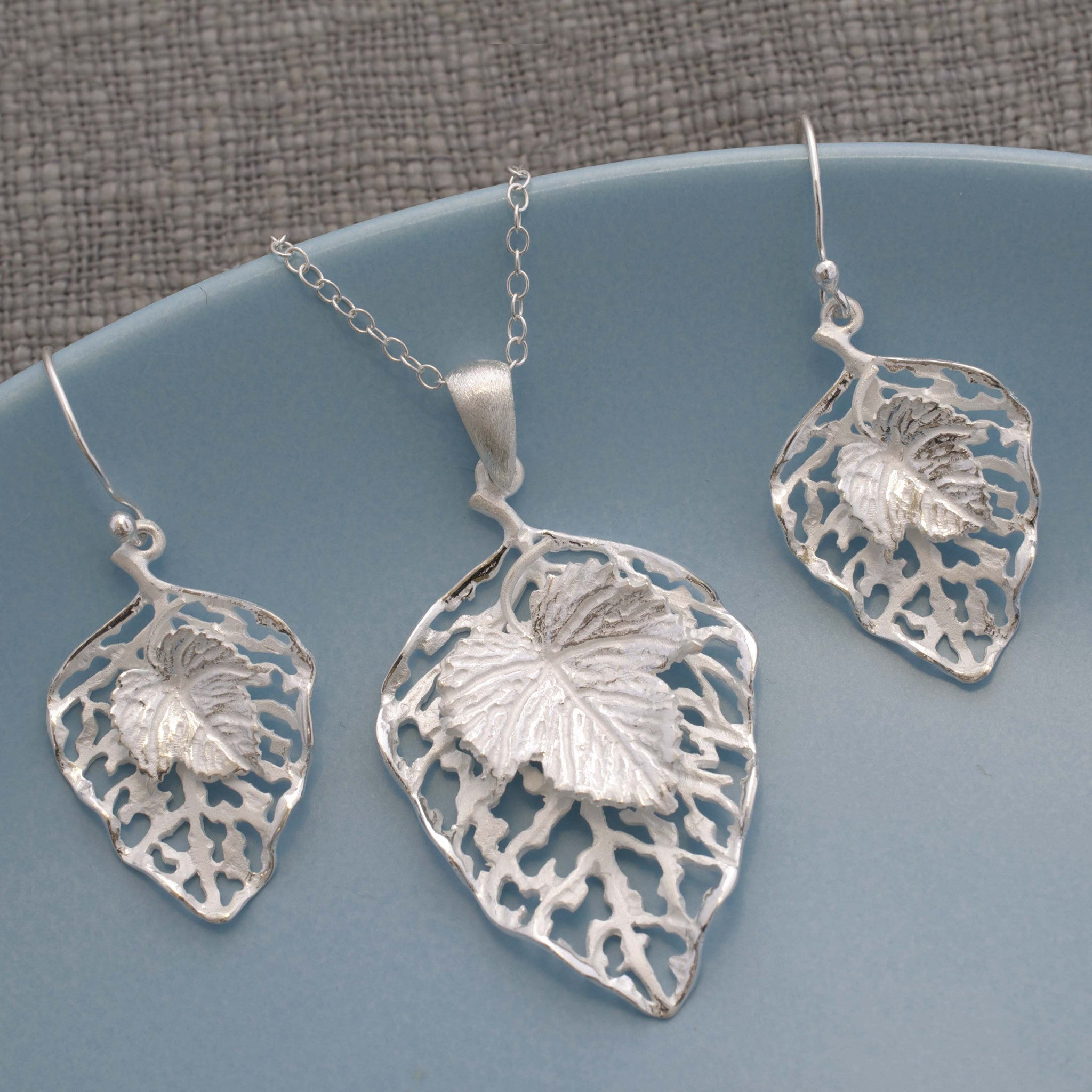 Silver Leaf Jewellery Set by Martha Jackson