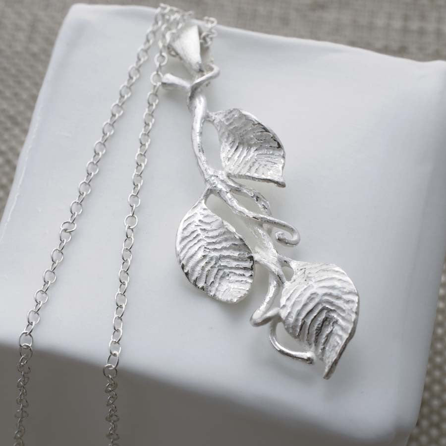 Sterling Silver Leaves Necklace by Martha Jackson