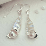 Sterling Silver Peapod Earrings by Martha Jackson