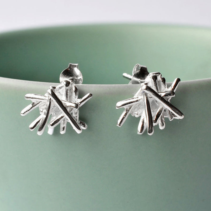 Silver Twig Stack Earrings by Martha Jackson