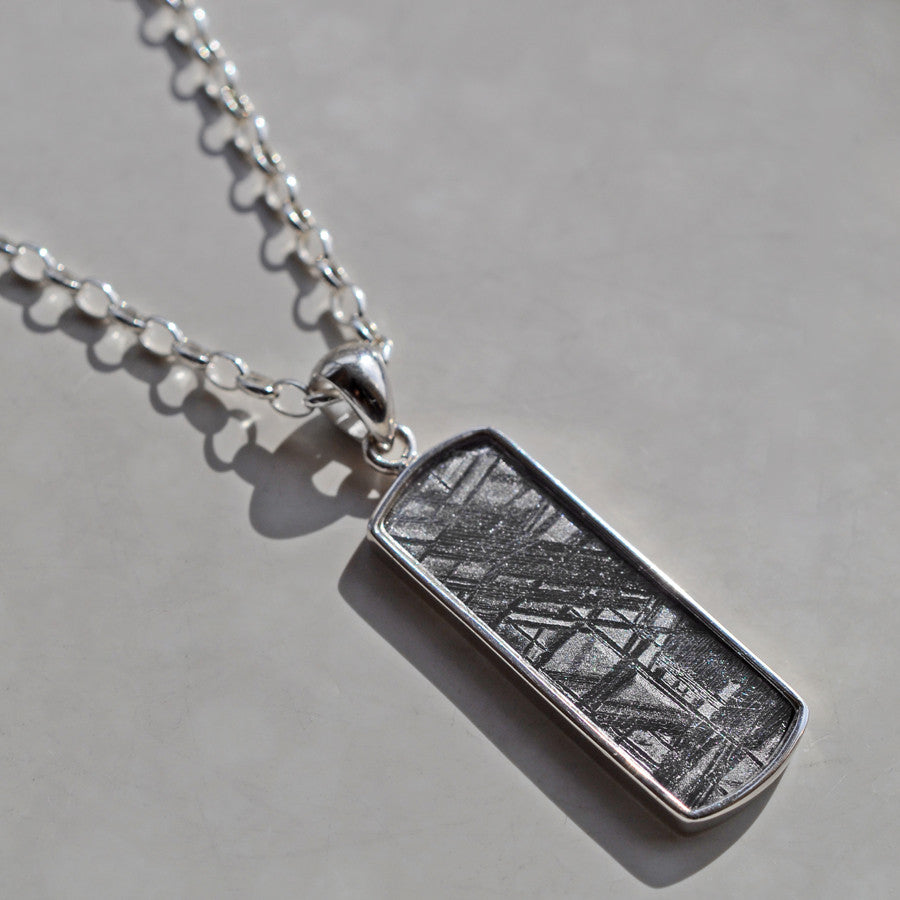 Meteorite Necklace Rectangular, set in silver