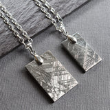 Meteorite necklace for men. Dog tag style, Available in two sizes