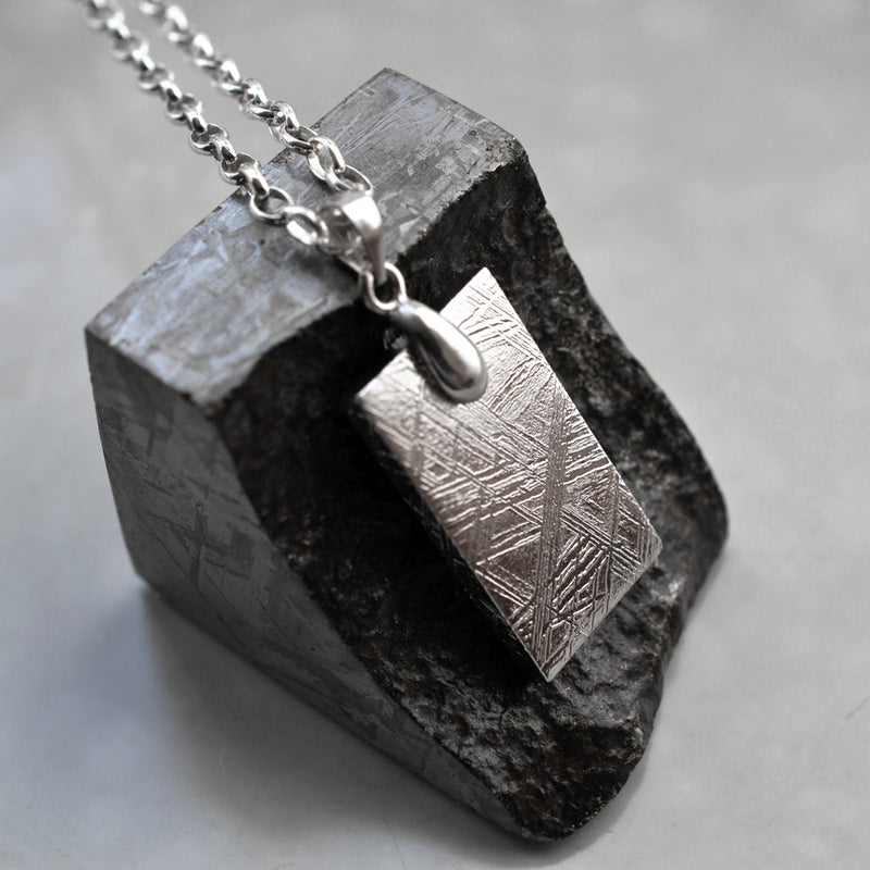 Meteorite Necklace (Small) Dog tag style