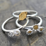 Silver Pearl, Leaf and Daisy Rings by Martha Jackson